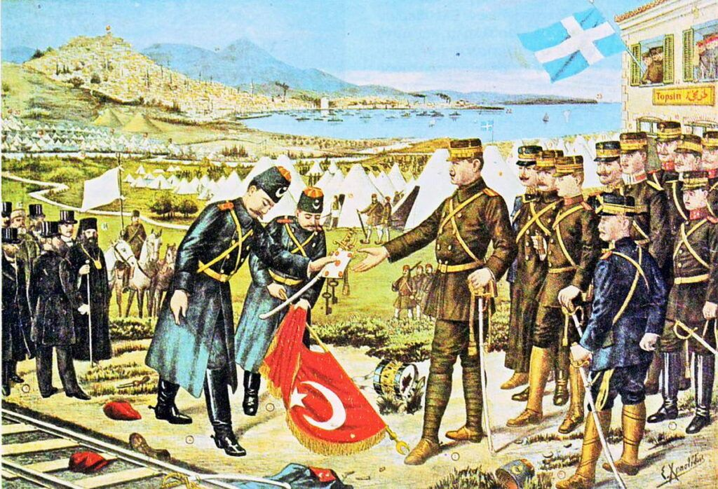"Hasan Tahsin Pasha surrenders ""Selanik"" to the Greek Army, after over 459 years of Ottoman rule."